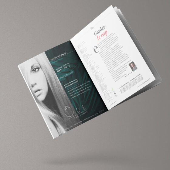 Publicité Ode Cosmétiques dans le magazine Coiffure de Paris